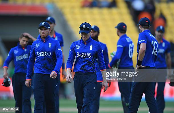 England captain Eoin Morgan leads his team off at the end of the 2015 ICC Cricket World Cup match between England and Sri Lanka at Wellington...