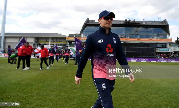 England captain Eoin Morgan leads out his team ahead of the Royal London One Day International between England and Ireland at The Brightside Ground...