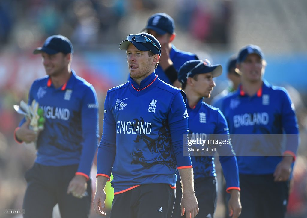 England captain Eoin Morgan leaves the field the 2015 ICC Cricket World Cup match between England and Scotland at Hagley Oval on February 23 2015 in...
