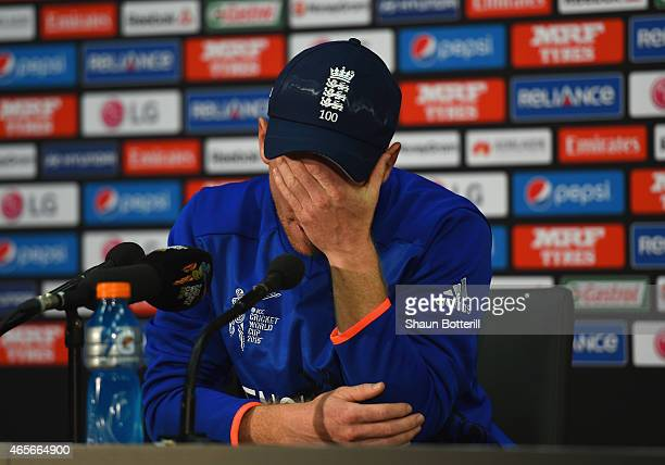 England captain Eoin Morgan looks dejected during a press conference after the 2015 ICC Cricket World Cup match between England and Bangladesh at...