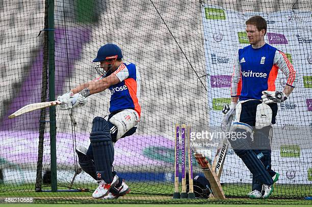 England captain Eoin Morgan looks on as James Taylor hits out during an England training session at Ageas Bowl on September 2 2015 in Southampton...