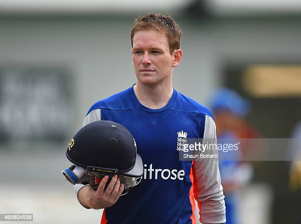 England captain Eoin Morgan looks on during an England nets session at Sydney Cricket Ground on March 11 2015 in Sydney Australia