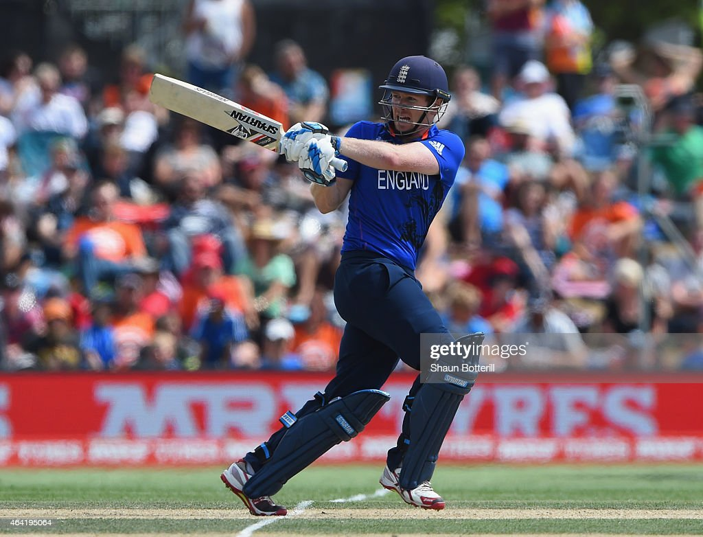 England captain Eoin Morgan plays a shot during the 2015 ICC Cricket World Cup match between England and Scotland at Hagley Oval on February 23 2015...
