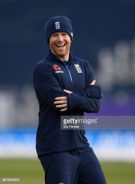 England captain Eoin Morgan raises a smile during England nets ahead of the T20 against the West Indies at Emirates Durham ICG on September 15 2017...