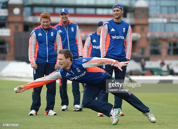 England captain Eoin Morgan takes part in a fielding drill during a nets session at Old Trafford on June 22 2015 in Manchester England