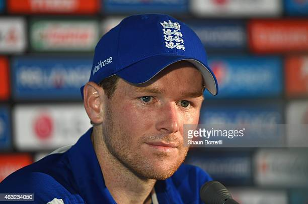 England captain Eoin Morgan talks to the media during a press conference at Melbourne Cricket Ground on February 12 2015 in Melbourne Australia