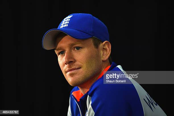 England captain Eoin Morgan talks to the media during a press conference at Adelaide Oval on March 7 2015 in Adelaide Australia