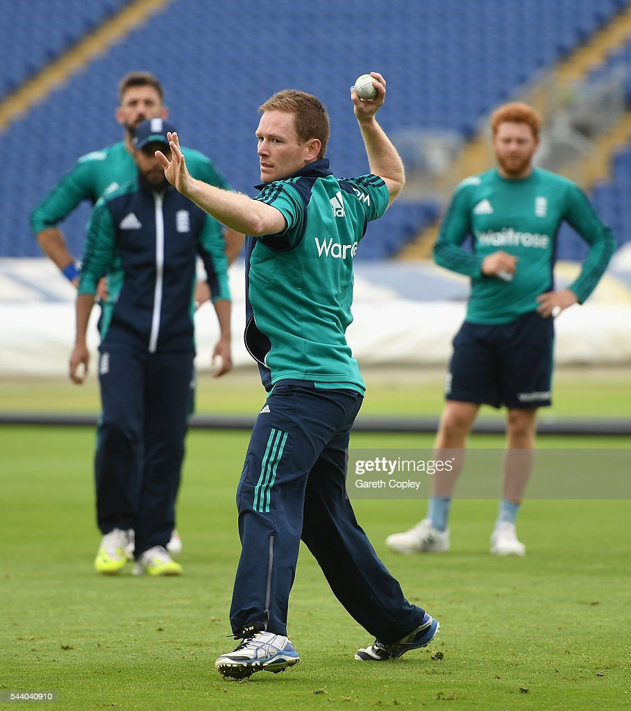 England captain <a gi-track='captionPersonalityLinkClicked' href=/galleries/search?phrase=Eoin+Morgan&family=editorial&specificpeople=689581 ng-click='$event.stopPropagation()'>Eoin Morgan</a> throws during a nets session at SWALEC Stadium on July 1, 2016 in Cardiff, England.