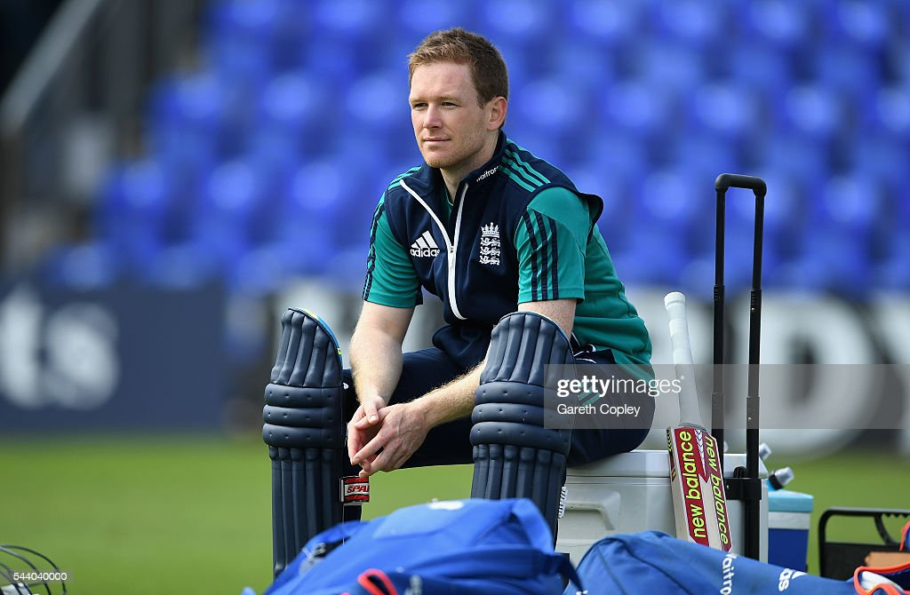 England captain <a gi-track='captionPersonalityLinkClicked' href=/galleries/search?phrase=Eoin+Morgan&family=editorial&specificpeople=689581 ng-click='$event.stopPropagation()'>Eoin Morgan</a> waits to bat during a nets session at SWALEC Stadium on July 1, 2016 in Cardiff, England.