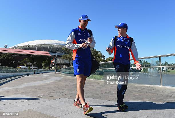 England captain Eoin Morgan walks with Alex Hales back to the team hotel after an England nets session at Adelaide Oval on March 7 2015 in Adelaide...