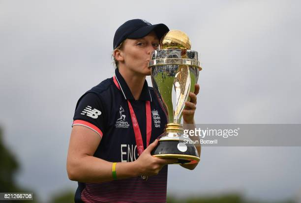 England captain Heather Knight poses with the trophy after winning the ICC Women's World Cup 2017 Final between England and India at Lord's Cricket...