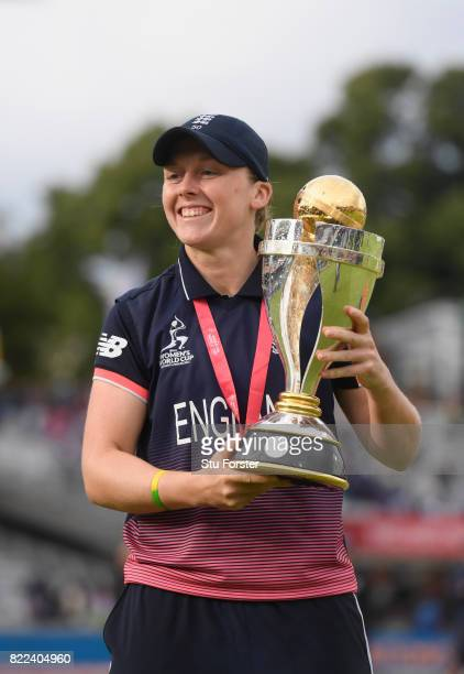 England captain Heather Knight with the trophy after the ICC Women's World Cup 2017 Final between England and India at Lord's Cricket Ground on July...