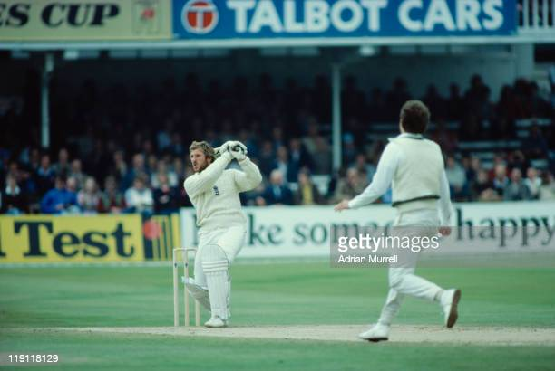 England captain Ian Botham hits a cover drive for 4 off Terry Alderman during the 1st test match against Australia at Trent Bridge Nottingham June...