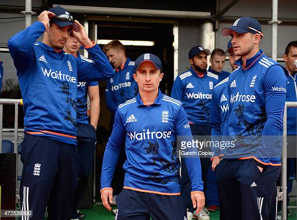 England captain James Taylor leads out his team ahead of the Royal London One Day International between Ireland and England at Malahide Cricket Club...