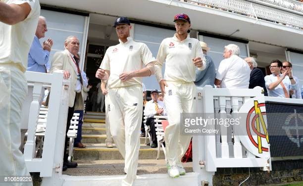 England captain Joe Root and Ben Stokes take the field on day three of the 1st Investec Test match between England and South Africa at Lord's Cricket...