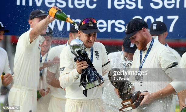 England captain Joe Root and vice captain Ben Stokes with the trophy after day four of the 4th Investec Test match between England and South Africa...