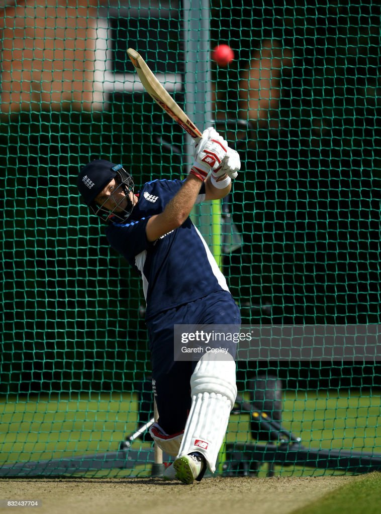 England captain Joe Root bats during a nets session at Edgbaston on August 16, 2017 in Birmingham, England.