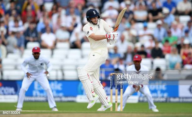 England captain Joe Root bats during day four of the 2nd Investec Test between England and the West Indies at Headingley on August 28 2017 in Leeds...