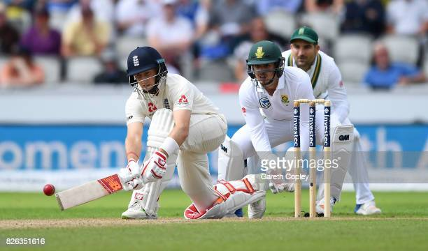 England captain Joe Root bats during day one of the 4th Investec Test between England and South Africa at Old Trafford on August 4 2017 in Manchester...