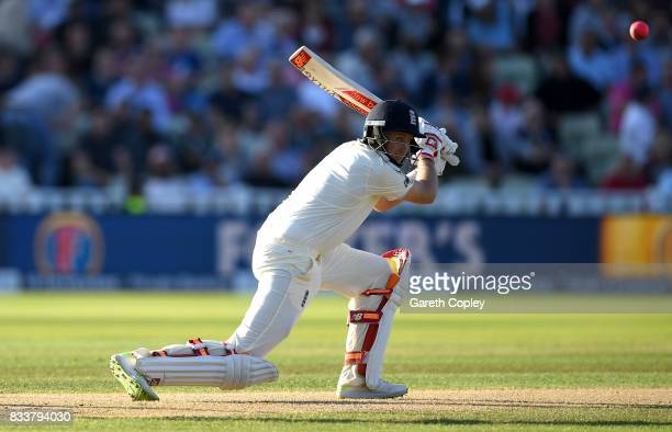 England captain Joe Root bats during the 1st Investec Test match between England and West Indies at Edgbaston on August 17 2017 in Birmingham England