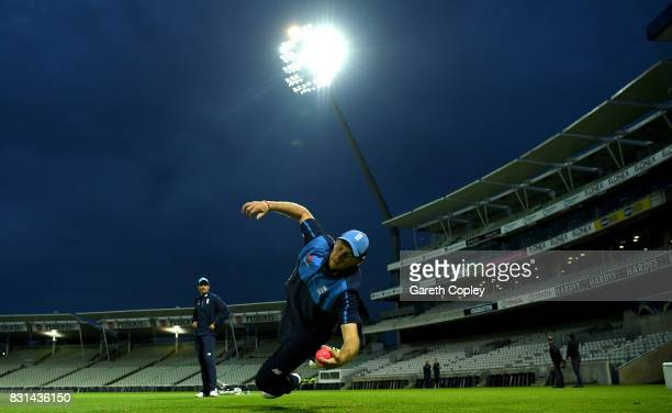 England captain Joe Root catches during a nets session at Edgbaston on August 14 2017 in Birmingham England