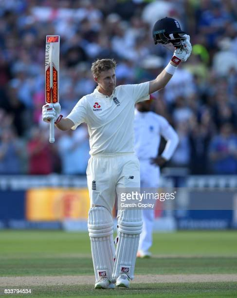 England captain Joe Root celebrates reaching his century during the 1st Investec Test match between England and West Indies at Edgbaston on August 17...