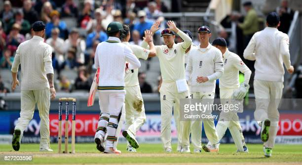 England captain Joe Root celebrates the wicket of Heino Kuhn of South Africa with Jimmy Anderson during day four of the 4th Investec Test match...