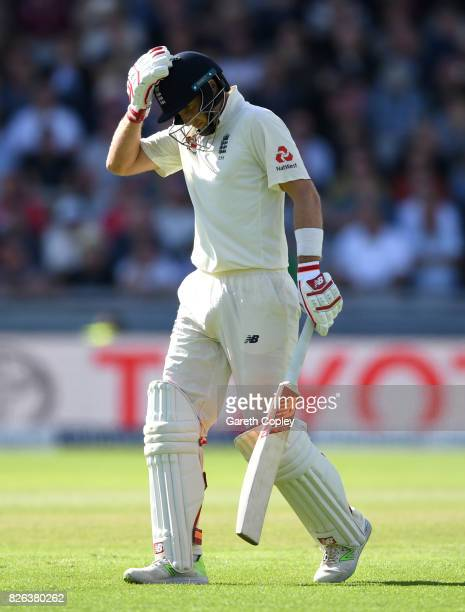 England captain Joe Root leaves the field after being dismissed by Duanne Olivier of South Africa during day one of the 4th Investec Test between...