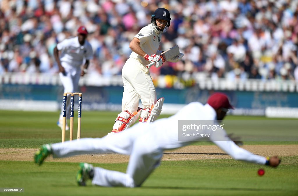 England captain Joe Root looks to hits past Kyle Hope of the West Indies during the 1st Investec Test match between England and West Indies at Edgbaston on August 17, 2017 in Birmingham, England.