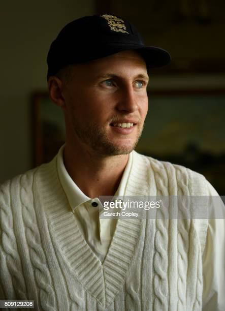 England captain Joe Root poses for a portrait in the Lord's Long Room ahead tomorrow's test match against South Africa at Lord's Cricket Ground on...