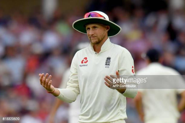 England captain Joe Root reacts on the third day of the second Test match between England and South Africa at Trent Bridge cricket ground in...