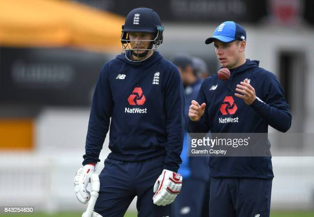 England captain Joe Root speaks wth Mason Crane during a nets session at Lord's Cricket Ground on September 6 2017 in London England