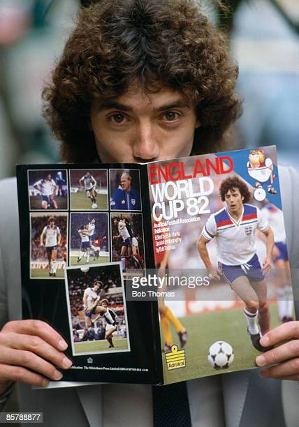England captain Kevin Keegan does his 'homework' for the 1982 World Cup Finals whilst promoting the Football Association's official publication for...