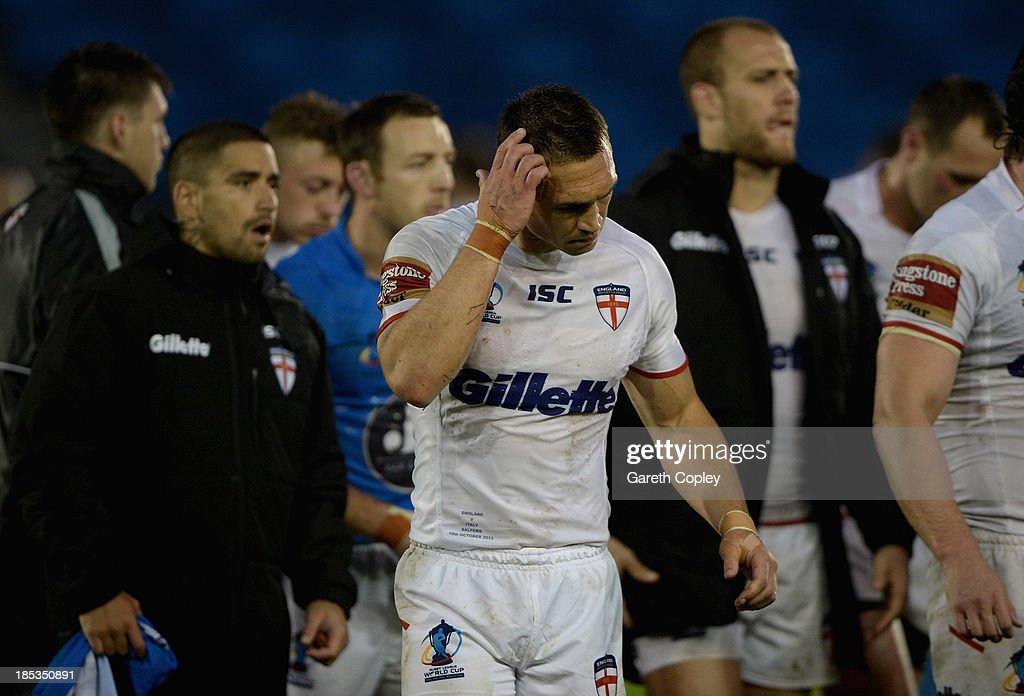 England captain Kevin Sinfield leaves the field after losing the International match between England and Italy at Salford City Stadium on October 19, 2013 in Salford, England.