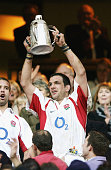 England captain Martin Johnson lifts the Calcutta Cup after the RBS Six Nations Championship match between England and Scotland held on March 22 2003...
