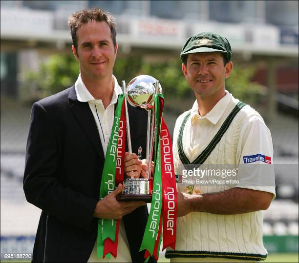 England captain Michael Vaughan and Australia captain Ricky Ponting holding the NPower Trophy prior to the 1st Test match at Lord's Cricket Ground on...