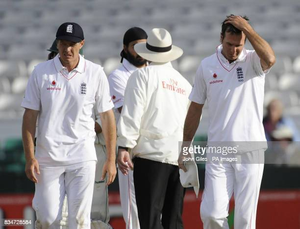 England Captain Michael Vaughan and Darren Pattinson show their disappointment at the end of the Second npower Test match at Headingley Cricket...