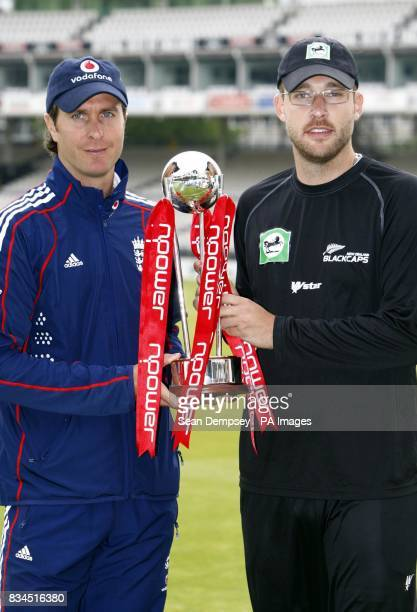 England captain Michael Vaughan and New Zealand captian Daniel Vettori with the Test Trophy during the press conference at Lord's London