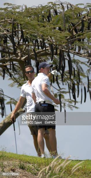 England captain Michael Vaughan and Paul Collingwood during a game of golf at Royal Westmoreland Golf Club Barbados