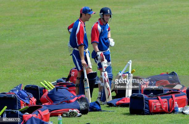 England captain Michael Vaughan and Paul Collingwood during a nets practice session at Everest Cricket Club Georgetown Guyana