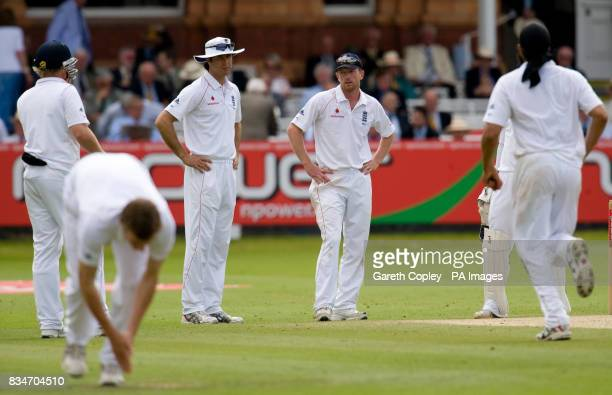 England captain Michael Vaughan and Paul Collingwood react during The First npower Test match at Lord's Cricket Ground London