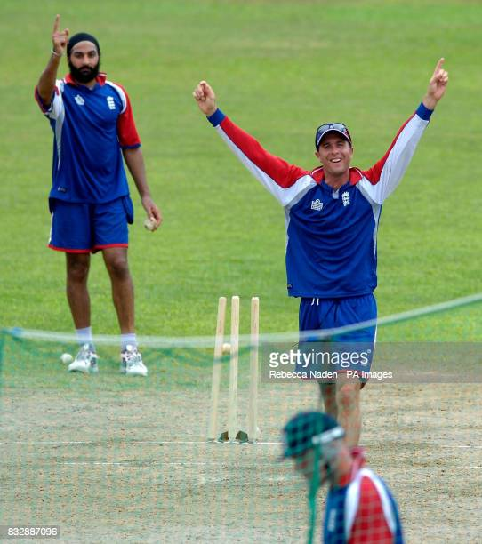 England captain Michael Vaughan celebrates bowling Paul Nixon during a nets practice session at Everest Cricket Club Georgetown Guyana