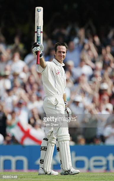 England captain Michael Vaughan celebrates his century during day one of the Third npower Ashes Test match between England and Australia at Old...