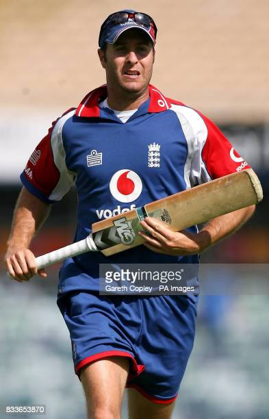 England captain Michael Vaughan during a nets session at the WACA Perth Australia