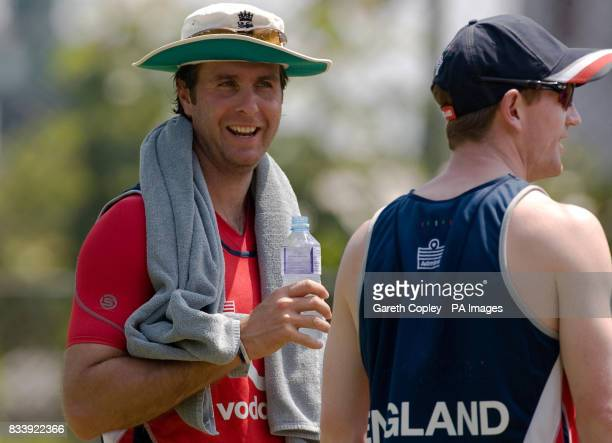 England captain Michael Vaughan talks to Paul Collingwood during a nets practice session at RPremadasa Stadium Colombo Sri Lanka