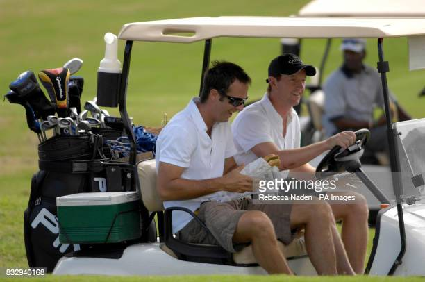 England captain Michael Vaughan the host with Paul Collingwood after teeing off the 1st hole during a game of golf at Royal Westmoreland Golf Club...