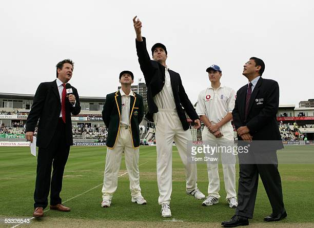 England captain Michael Vaughan tosses the coin as Ricky Ponting of Australia and commentator Mark Nicholas look on during day one of the Second...