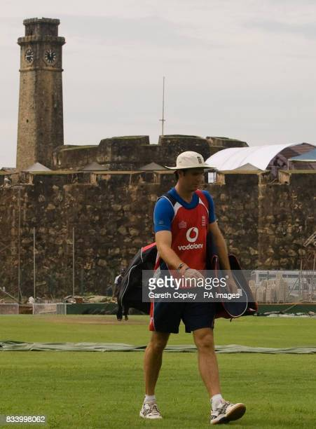 England captain Michael Vaughan walks across the pitch on his way back from an indoor nets session at Galle International Stadium Galle