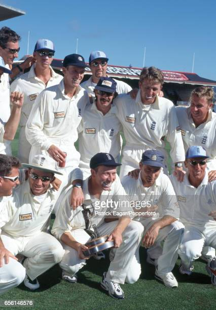 England captain Mike Atherton holds the series trophy after England won the 3rd Test match between New Zealand and England and took the threematch...