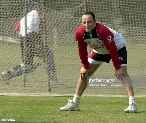England captain Nasser Hussain at net practice on the tour of India Hussain travels to Madras where he was born to play India in the third oneday...
